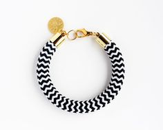 Rope Bangle Wrap Bracelet with Gold Charm  by feltlikepaper
