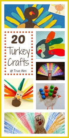 20 Turkey Crafts and Activities for Kids including a turkey lunch, hand print art, felt turkeys, free printables, and more!
