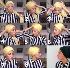 Ideas Style Hijab Turban For 2019 Turban Hijab, Turban Mode, Hair Wrap Scarf, Hair Scarf Styles, Hijab Styles, Turban Tutorial, Hijab Tutorial, Head Scarf Tutorial, Bad Hair