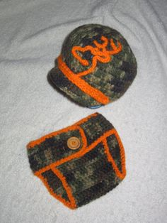 Baby Browning Deer Inspired Camo Hat and Diaper Cover Set Available in Other Colors, Including Pink Beanie Newborn Boys or Girls Photo Props on Etsy, $25.00