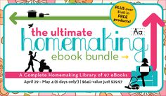 The ULTIMATE Homemaking E-Book Bundle (nearly 100 books) is now available.  It's 80% off... that's 30 cents per book!  Everything about homemaking you can imagine is in this bundle (Full book list on blog post).