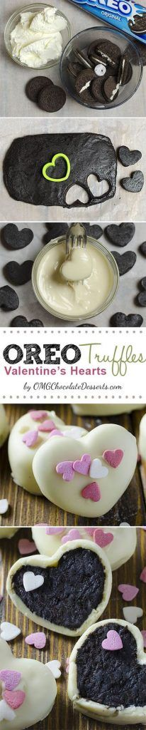 These are 3 ingredient heart shaped Oreo Cream Cheese Truffles covered with white chocolate, perfect for Valentine's Day
