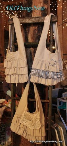 Queen Bee French Flea Market Highlights - Old Things New Looks like a Fun Drop Cloth Project!