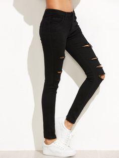 Pantalones rotos skinny rotos-Sheinside                                                                                                                                                                                 Más