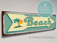Vintage Style Beach Sign – UV Protected Weatherproof Signs Suitable for Outdoor or Indoor Use – Exclusively from Classic Metal Signs