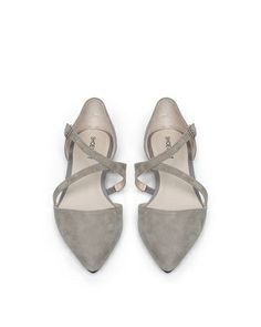 silver grey d'orsay flat with a (crisscross) twist