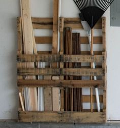 Free Garage Storage: Just ONE More Thing Pallets are Good For! : If you need to organize your garage, then check out how to make some easy (and FREE) changes! DIY solution using pallets. Find out how to use a pallet for FREE garage storage!