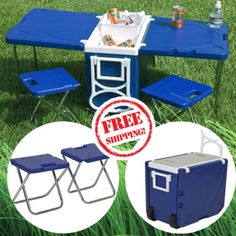 Cooler-Picnic-Multifunctional-Table-2-Chairs-Camping-Outdoor-Fishing-Beach-Blue