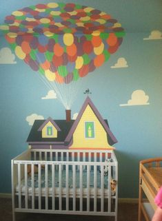 UP themed nursery mural. Painted by my mother in law!