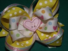 Stacked Boutique Spring Bow  Easter Bow by sewcutetreasuresnbow, $7.50