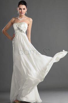 Perlen Mittelgröße Göttin Brautkleider Chiffon bodenlanges trägerloses ärmelloses Ball/ Abendkleid
