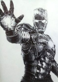 pencil drawing of Iron man - blows my picture of Ironman out of the water!