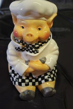 Dori Postlewaite 1999 Chef pig cookie jar