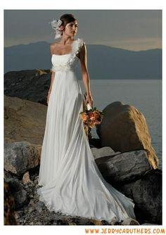 A-lijn kant-up back strand chiffon jurk