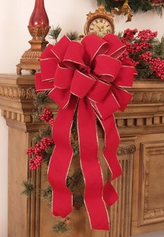 Christmas Bows Set of 2 Red Velvet Gold Edged Bows >>> You can find out more details at the link of the image.