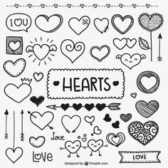 Cute heart bullet journal and planner doodles Doodle Drawings, Doodle Art, Doodle Images, Banners, Sketch Note, Heart Doodle, Doodle Lettering, Doodle Fonts, Typography
