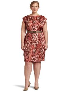 AK Anne Klein Women's Plus-size Watermark Printed Dress
