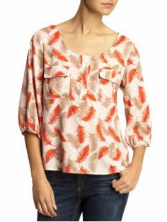 Feather Print Blouse - Piperlime