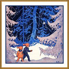 Finnish Rudolf Koivu Children on A Snowy Evening Walk Counted Cross Stitch Chart   eBay