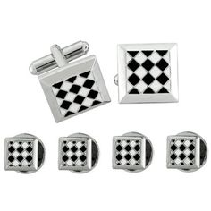 Tuxedo stud and Cufflink set Square Shaped with Black and White Checked Pattern. High Quality. Great accessory. Elegant Yet Affordable. With Out box.