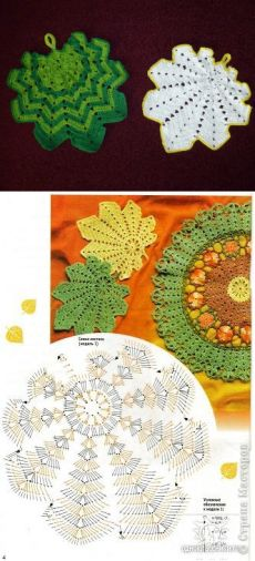This Pin was discovered by Cor Crochet Leaves, Knitted Flowers, Crochet Mandala, Vintage Crochet Doily Pattern, Crochet Doilies, Crochet Patterns, Crochet Chart, Diy Crochet, Crochet Home Decor