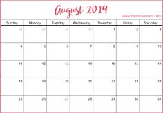 10 Best August 2019 Calendar Printable Templates Free Images
