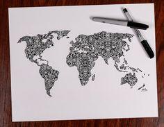 Zentangle Travel The World by DesignsByBlynn on Etsy