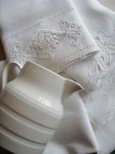 White Linens & Pitcher | Cabin & Cottage