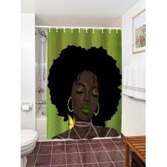 Afro Hair Lady Immersed In Her Own World Waterproof Shower Curtain - COLORMIX 150*180CM