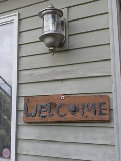 Welcome sign on 1930 floorboard and rocks found by REDONEbykpstack, $32.00