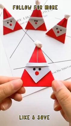 Christmas Card Crafts, Christmas Art, Holiday Crafts, Christmas Decorations, Origami Christmas, Handmade Decorations, Instruções Origami, Paper Crafts Origami, Diy Paper