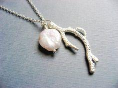 Silver Coral Necklace, Pearl Necklace, Beach wedding, Bridesmaid gift