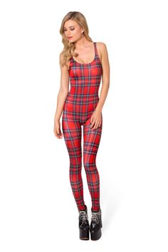 Tartan Red Catsuit › Black Milk Clothing