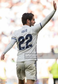 Isco Alarcon of Real Madrid celebrates during their La Liga match between Real Madrid and Deportivo Alaves at the Santiago Bernabeu Stadium on 02 April 2017 in Madrid, Spain.