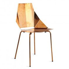 Copper Real Good Modern Dining Chair - Real Good modern dining chair, now available in a copper plated finish that is intended to patina naturally with handling and age for a unique look. The Real Good Chair ships flat and folds along laser-cut lines to create a dynamic and comfortable chair. As skinny as a supermodel yet far more sturdy.