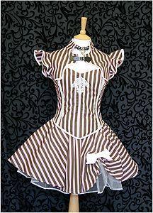Candy Stripe Bolero/Shrug Goth Steampunk Victorian Burlesque Circus Ruffles NEW