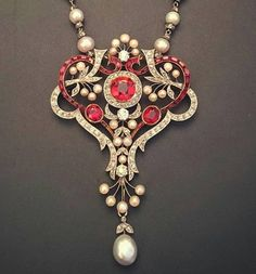 Ruby, seed pearl and diamond pendant