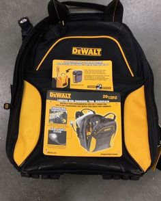 Dewalt Lighted USB charging backpack. It's got this cool flexible LED light and 2 USB charging ports to charge your electronics. It runs off any 20v pack. So yes you can hook up a Flexvolt pack to it. Tons of pockets on this unit. I think this would be great not just for work but for traveling as well. @dewalttough #dewalt
