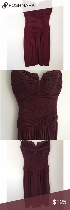 "🎉HP🎉 BCBG MAX AZRIA Burgundy Strapless Dress 🎉HOST PICK- TOP TRENDS PARTY 9/26 🎉Gorgeous dress in beautiful burgundy/plum color from brand BCBG MAX AZRIA. Retails at $278. Size 02 true to size or slightly smaller. I'm able to provide measurements upon request. Material is chiffon-like w/ some stretch to its lining. Sweetheart-like strapless neck line with small ""V"" and cute ruching detail. Perfect for weddings, formals, or any event! I'm happy to answer any questions you may have! Open…"
