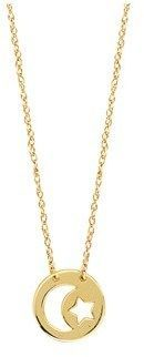 JewelryAffairs 14k Yellow Gold Mini Moon And Star Pendant Necklace, 16 To 18 Inches Adjustable.
