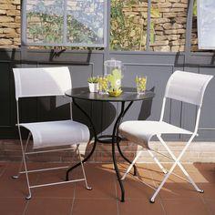 Salon de jardin en teck et HPL table couleur ardoise avec bancs ...