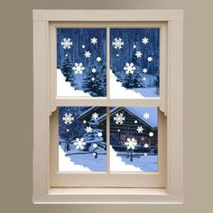 Christmas Xmas Display Shop Window New Snow Flakes Snowy Decals Stickers - Christmas Decorations Noel Christmas, Christmas Projects, Winter Christmas, Xmas, Christmas Ornaments, Christmas Decals, Etsy Christmas, Snowy Window, Decoration Stickers