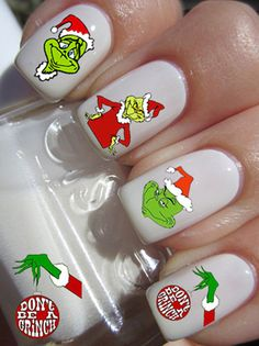 Merry Christmas Grinch Nail Art Decals 20 Grinch Waterslide or Peel & Apply Nail Decal