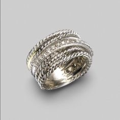 David Yurman - Diamond, White Gold & Sterling Silver Crossover Ring - Saks Fifth Avenue Mobile Jewelry Box, Jewelry Accessories, Fashion Accessories, Fashion Jewelry, Jewlery, Jewelry Rings, Bijou Box, Casual Chique, The Bling Ring