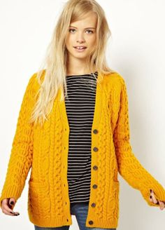 Fred Perry British Knitting Aran Cardigan (love the stripes with the solid cardigan)