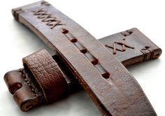 Heavy leather rusty brown watch strap handmade 24mm