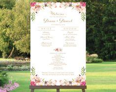 Hochzeit Programm Zeichen Bridal Party Poster