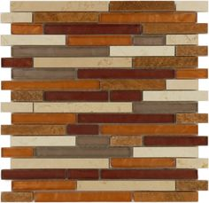 Horizon Tile  Random Brick Series, Random Bricks, Montevideo, Glossy & Polished, Gold, Glass and Stone