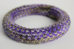 Handknit linen stitch multi-colored bangle bracelet on Etsy $25