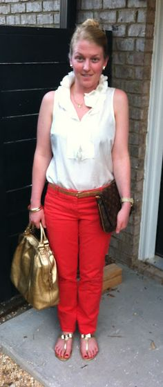 j. crew white silk blouse  j. crew red chino  keti sorely monogram earring and necklace  h skinny belt  kate spade gold handbag  louis vuitton vintage clutch  forever 21 gold bangles  michael kors horn watch  dee keller bow flats    www.acupoflindsayjo.com